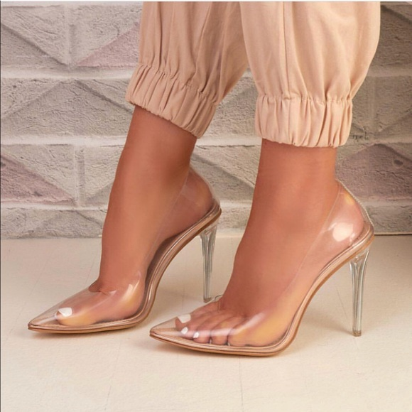 ad8d74003ed Transparent clear pointy toe slip on stiletto heel